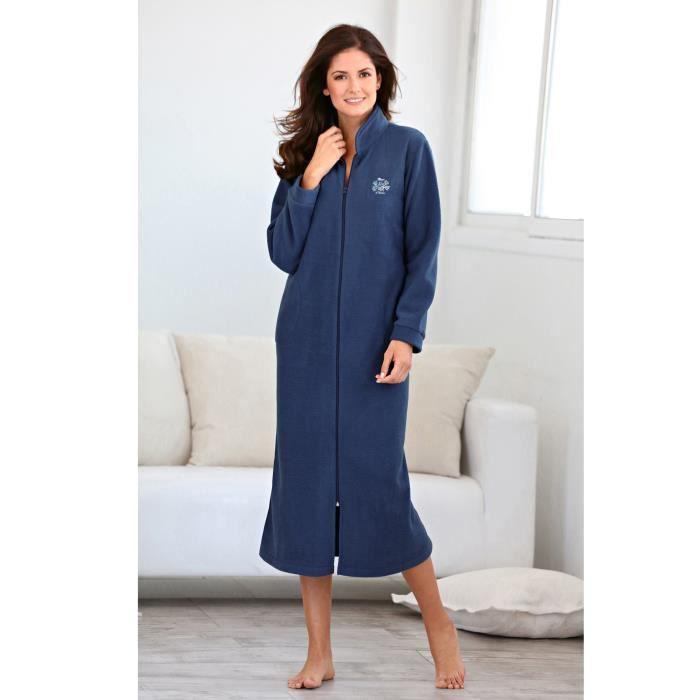 Robe de chambre polaire longue femme bleu achat vente chemise de nuit soldes cdiscount - Robe de chambre femme courtelle ...