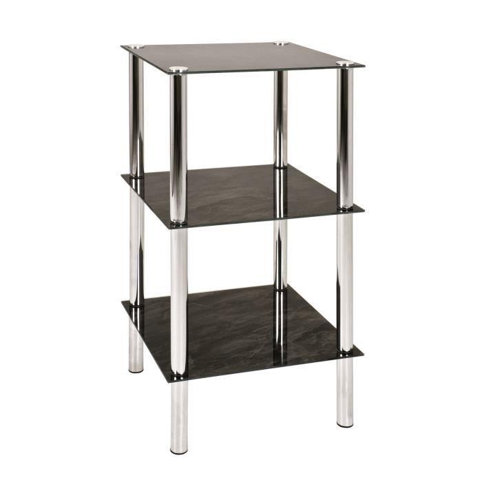 Table d 39 appoint carat 2 acier verre achat vente for Table d appoint verre