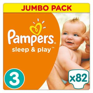 COUCHE Pampers Sleep & Play Taille 3 - De 5 à 9kg - 82 Co
