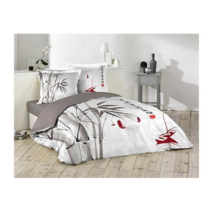 housse de couette zen bambou 220x240cm 2 taies d oreiller 100 coton 57fils achat vente. Black Bedroom Furniture Sets. Home Design Ideas