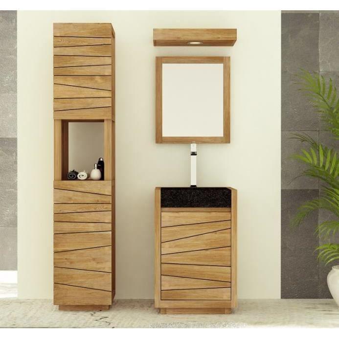 Meuble de salle de bain tascon l55 en teck achat vente - Meubles de salle de bain soldes ...