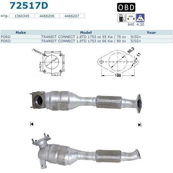 Pot Catalytique Pour Ford Transit Connect 1.8TD 17