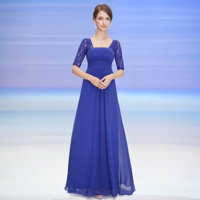 ROBE DE CÉRÉMONIE Robe de Soirée Dentelle Bleu Empire