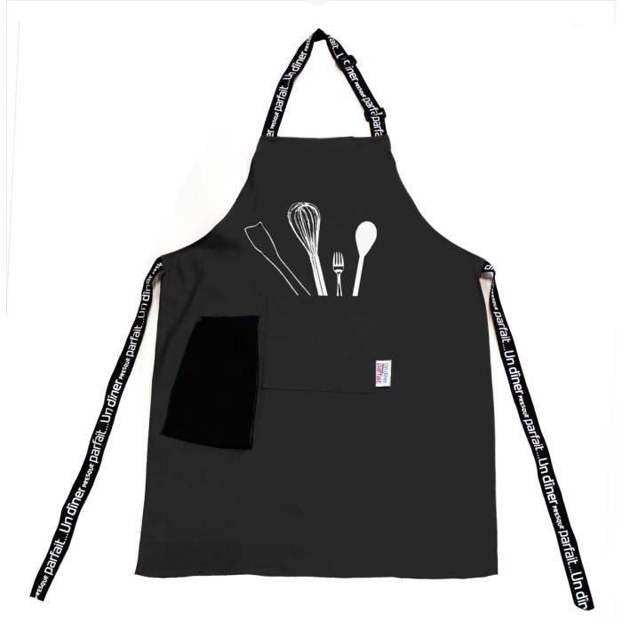Tablier de cuisine diner menu noir achat vente tablier - Tablier noir de cuisine ...