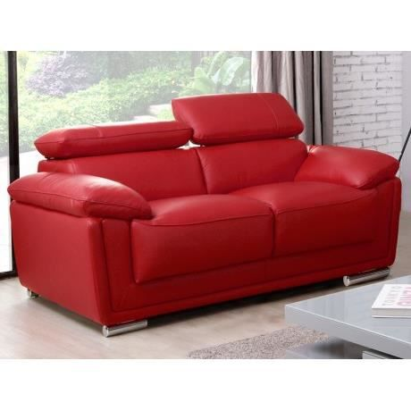 canap 2 places cuir de vachette mishka rouge achat vente canap sofa divan cdiscount. Black Bedroom Furniture Sets. Home Design Ideas
