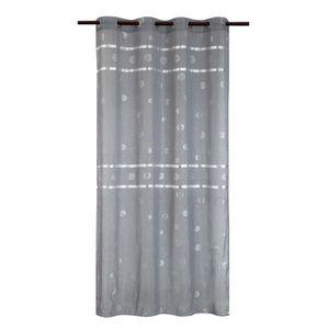 VOILAGE Voilage à bandes brillantes Shiny 140x240 cm gris