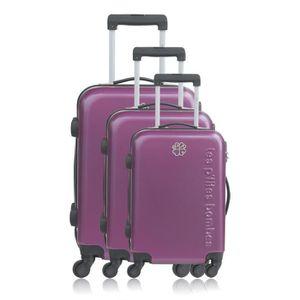 LES P'TITES BOMBES Set de 3 Valises Rigide Polycarbonate 4 Roues 50-60-69cm ADELE Violet