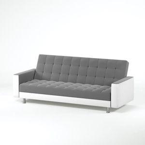 CANAPÉ - SOFA - DIVAN LUXURY Canapé droit convertible en simili et tissu