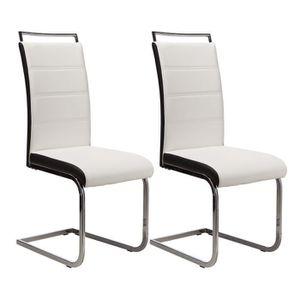 chaise dylan lot de 2 chaises de salle manger en simili - Salle A Manger Noir Et Blanc Pas Cher