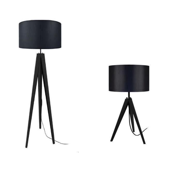 Tosel lampadaire lampe poser tr pied bois massif noir - Lampadaire trepied style projecteur de cinema ...