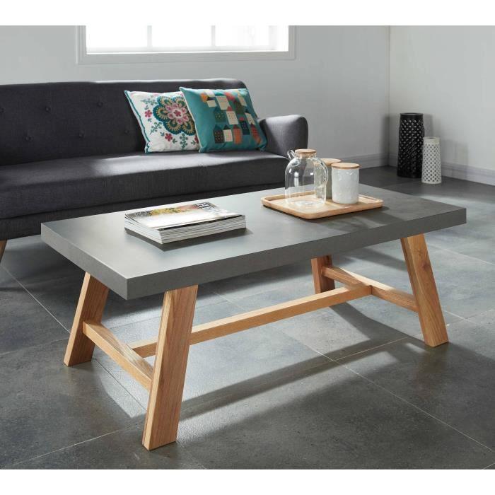 Fjord table basse 120x60 cm plaqu ch ne et d cor effet for Meuble 120x60