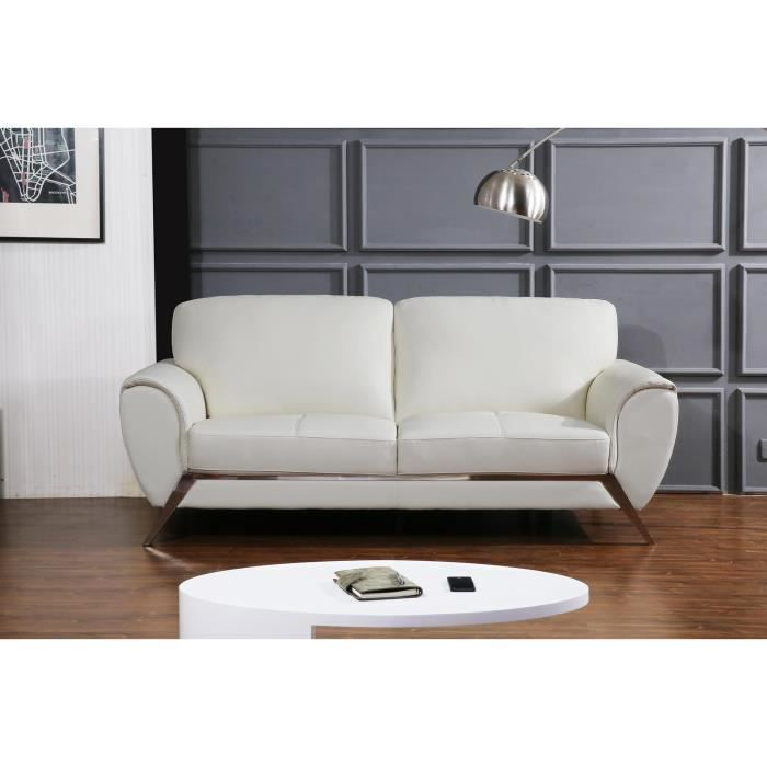 cello canap cuir et simili 2 places 212x96x89 cm blanc achat vente canap sofa divan. Black Bedroom Furniture Sets. Home Design Ideas