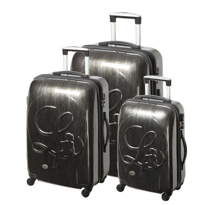 lollipops set de 3 valises trolley 4 roues gris fonc achat vente set de valises. Black Bedroom Furniture Sets. Home Design Ideas