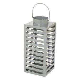 LAMPION HOMEA Lanterne carrée en métal 40cm - Gris