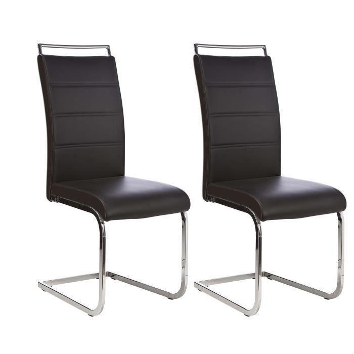 Dylan lot de 2 chaises de salle manger en simili noir for Chaises de salle a manger