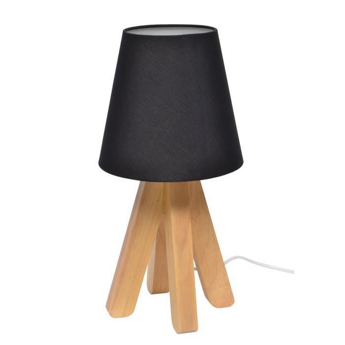 Ticone lampe poser bois abat jour tissu noir achat for Lampe a poser bois