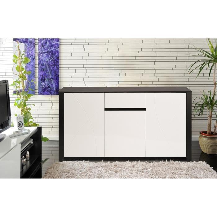 paolo buffet bas 152 cm noir et blanc achat vente. Black Bedroom Furniture Sets. Home Design Ideas