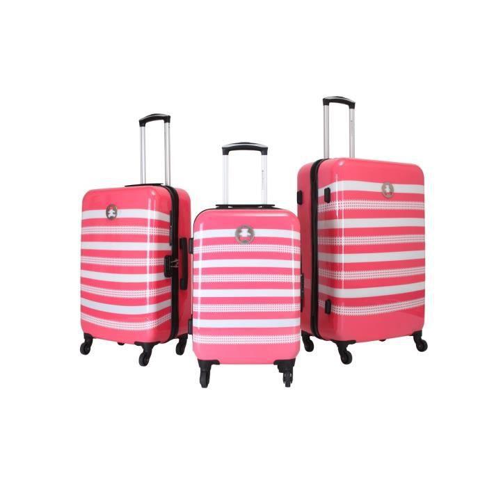 lulu castagnette set de 3 valises abs 4 roues agp 50 60 70 cm rose rose achat vente set de. Black Bedroom Furniture Sets. Home Design Ideas