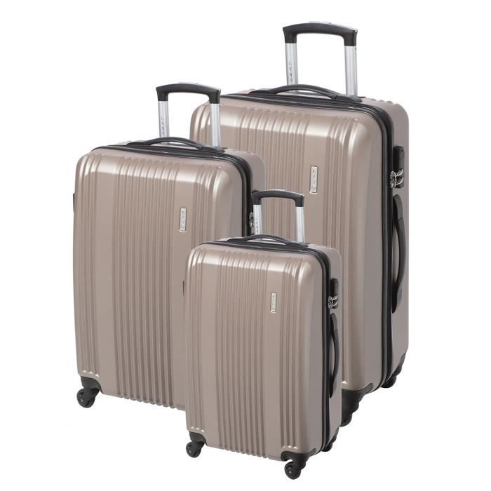 lys set de 3 valises trolley 4 roues taupe achat vente set de valises 3510270002699 soldes. Black Bedroom Furniture Sets. Home Design Ideas
