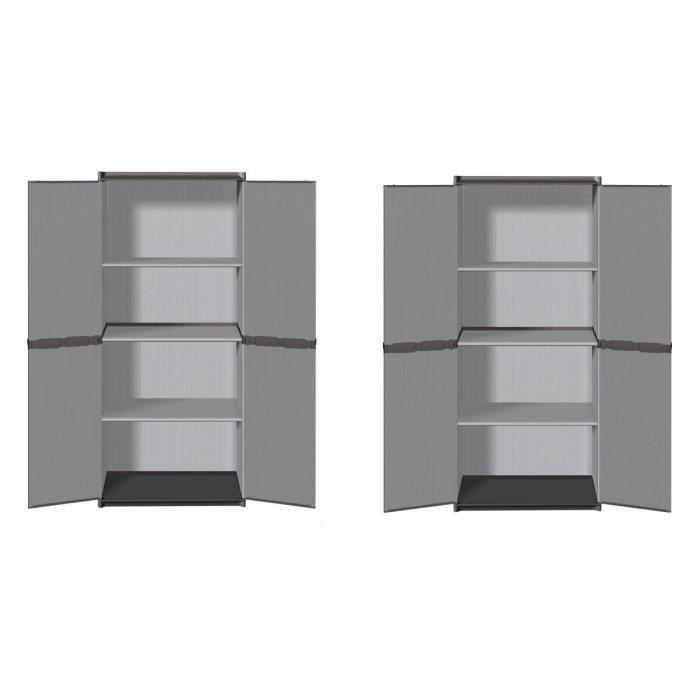 Sogenex lot de 2 armoires hautes de rangement 3 tablettes en r sine achat - Cdiscount armoire de rangement ...
