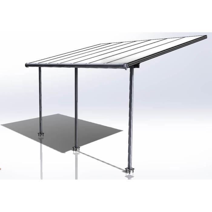 palram pergola aluminium extensible elite 12 9 m2 260 305x434x295 cm gris achat vente. Black Bedroom Furniture Sets. Home Design Ideas