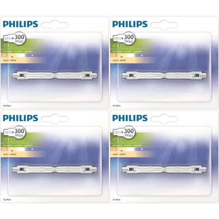 philips crayon 118mm lot 4 ampoules ecohalo 240w achat. Black Bedroom Furniture Sets. Home Design Ideas