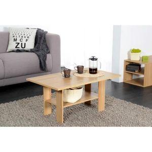 HOME Table basse en panneaux de particules décor ch?ne - Style et design contemporain - Dispose d'une tablette de rangement placée sous le plateau principal - Dimensions : L 90 x l 42 x H 54,5 cm.