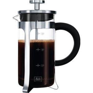 MELITTA Cafeti?re ? piston Micro-Ondable Premium en verre et inox 3 tasses