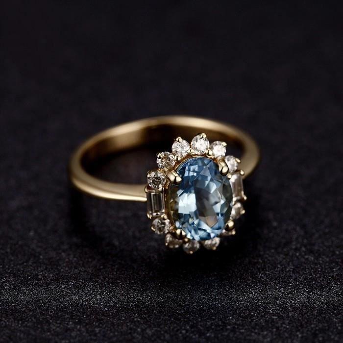 bague or aigue marine et diamant taille 44 62 achat vente bague anneau bague or. Black Bedroom Furniture Sets. Home Design Ideas