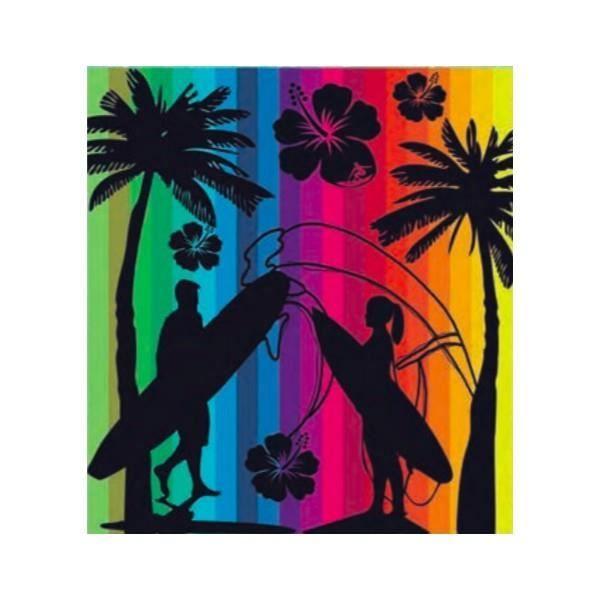 serviette de plage couple surf multicouleur double 160 x 180 achat vente serviette de plage. Black Bedroom Furniture Sets. Home Design Ideas