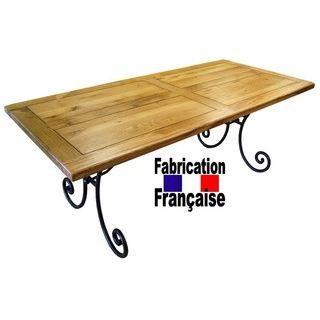 Table ch ne et fer forg le bois s lectionn co achat for Table fer forge bois