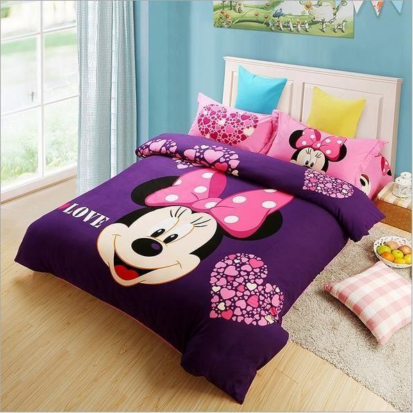 Parure de lit minnie coton 200 230 cm 4 piece achat vente housse de couet - Cdiscount linge de maison ...