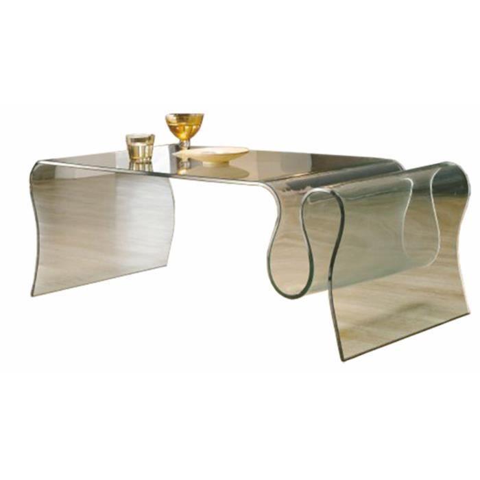 Table basse porte revues en verre x x cm for Porte verre 60 cm