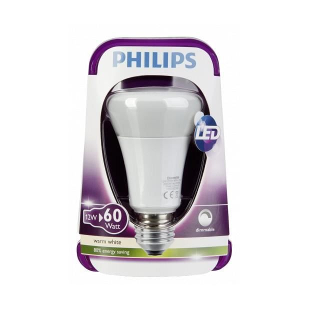 philips led lampe e27 dim 12w 60w blanc chaud achat. Black Bedroom Furniture Sets. Home Design Ideas