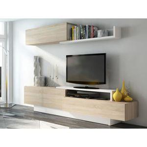 meuble tv noir et bois achat vente meuble tv noir et bois pas cher cdiscount. Black Bedroom Furniture Sets. Home Design Ideas