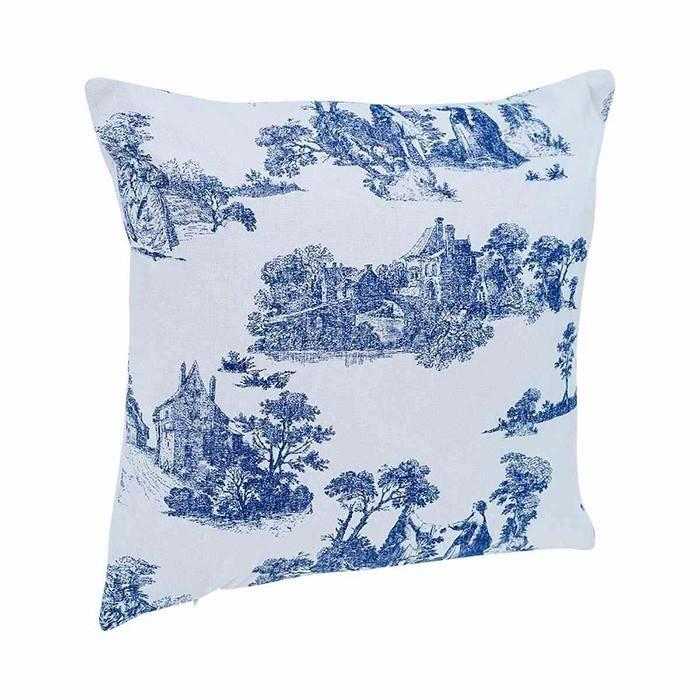 coussins coussin imprime facon toile de jouy bleu achat vente coussin cdiscount. Black Bedroom Furniture Sets. Home Design Ideas