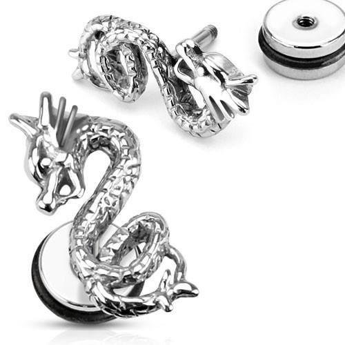 Boucle d'oreille Boucle d'oreille acier faux écarteur dragon