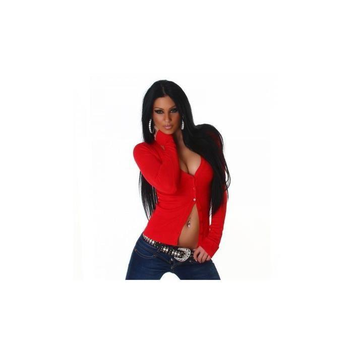 gilet femme classique rouge achat vente gilet. Black Bedroom Furniture Sets. Home Design Ideas