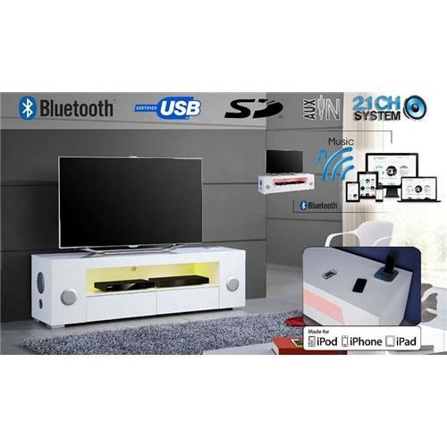 meuble tv high tech music led bluetooth su achat vente meuble tv meuble tv high tech. Black Bedroom Furniture Sets. Home Design Ideas