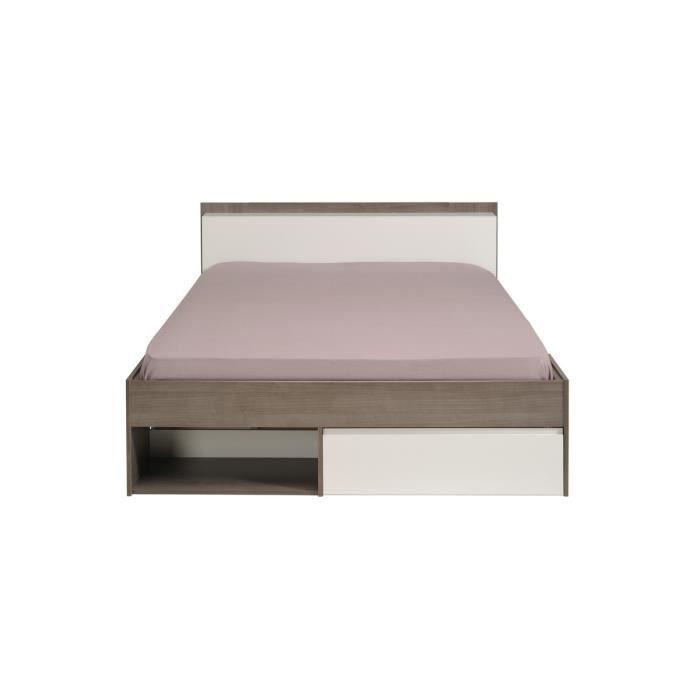 Lit design ajustable 140 x 190 140 x 200 noyer silver blanc chosenone ach - Lit 140 x 190 tiroir ...