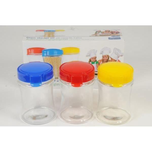 Lot de 3 bocaux en verre avec couvercles color s achat for Achat bocaux en verre