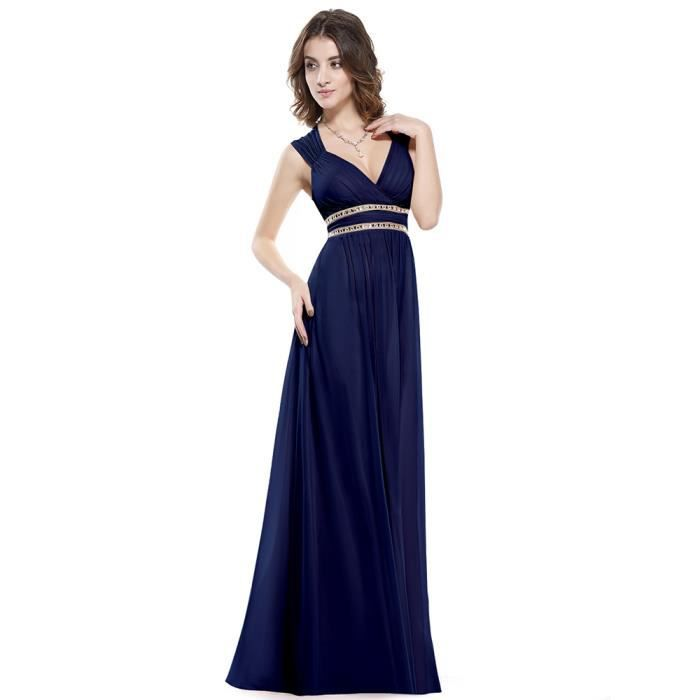 Robes longues bleu marine for Longue robe marine pour mariage