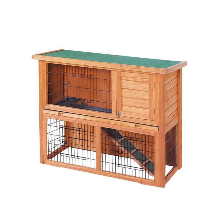 clapier pour lapins en bois 111 5 x 45 x 92 cm achat vente clapier clapier pour lapins en. Black Bedroom Furniture Sets. Home Design Ideas