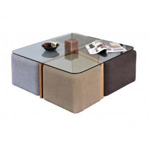 Table basse Terra + 4 poufs