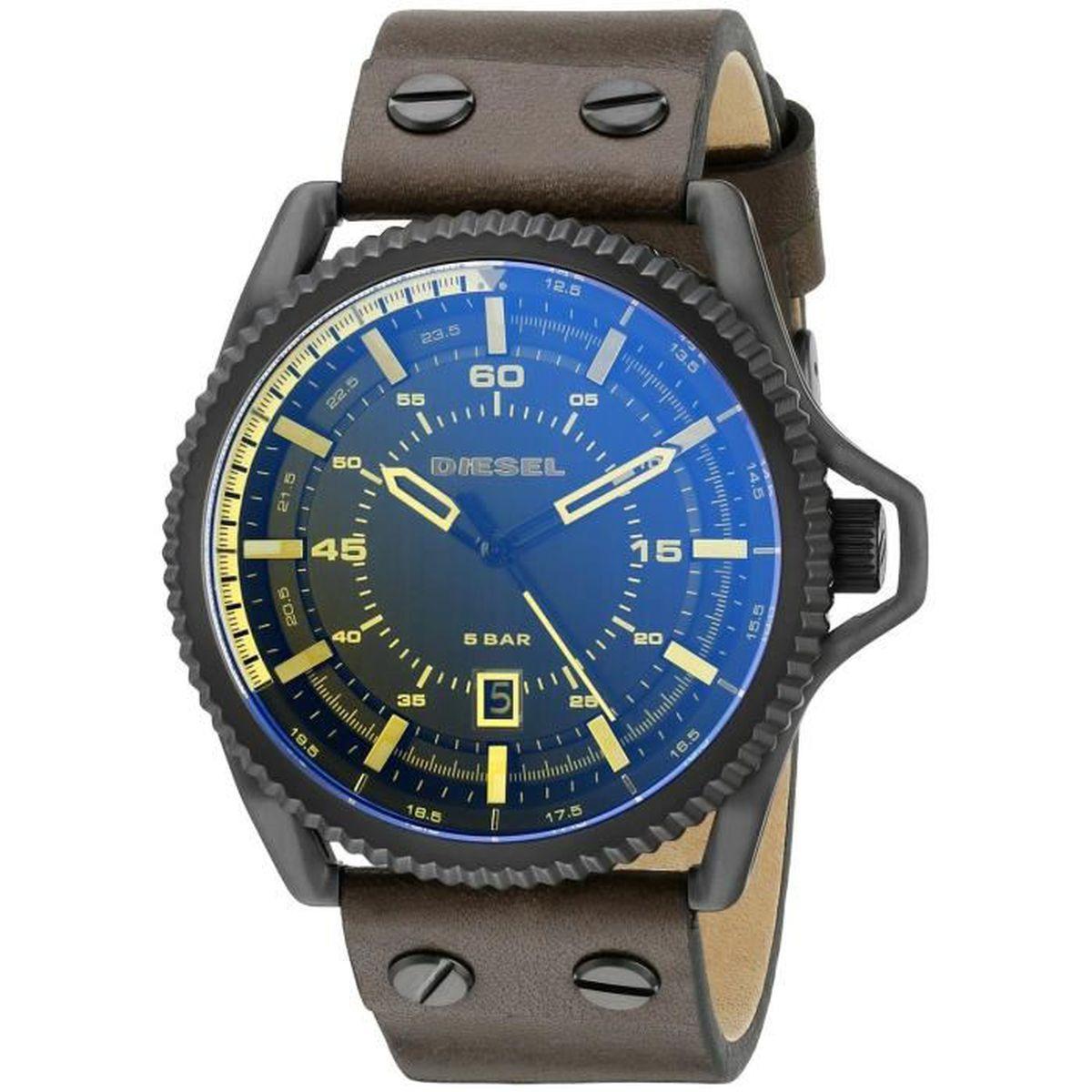 Diesel homme 46mm bracelet cuir marron quartz cadran noir - Montre diesel bracelet cuir marron ...