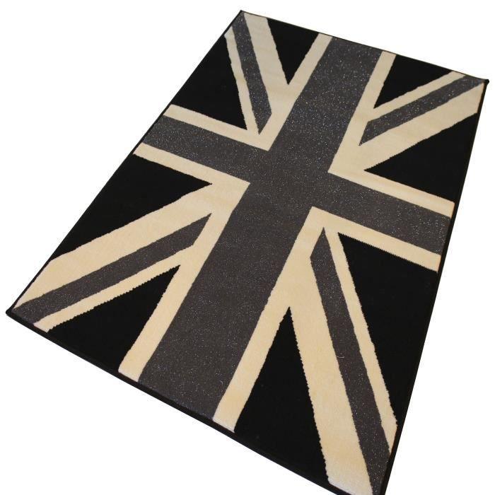 English tapis 100x150cm noir brillant noir achat vente tapis cdiscount - Tapis shaggy noir brillant ...