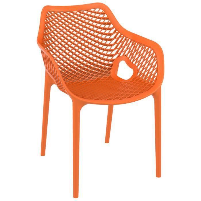 Chaise de jardin ou de terrasse en mati re plastique dimensions 3d l x l x h 60x57x81 cm - Chaise salon de jardin orange ...