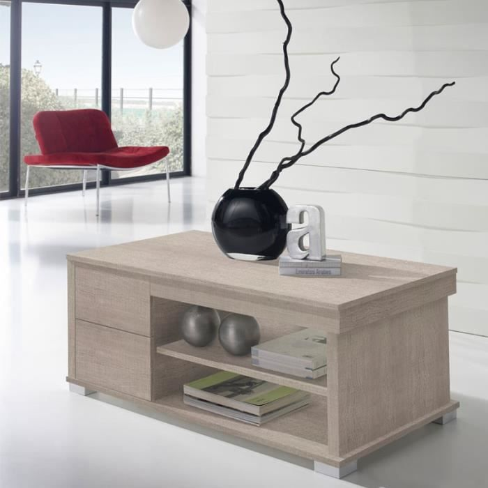 Table basse ch ne clair relevable nese taille l 110 for Table basse chene clair