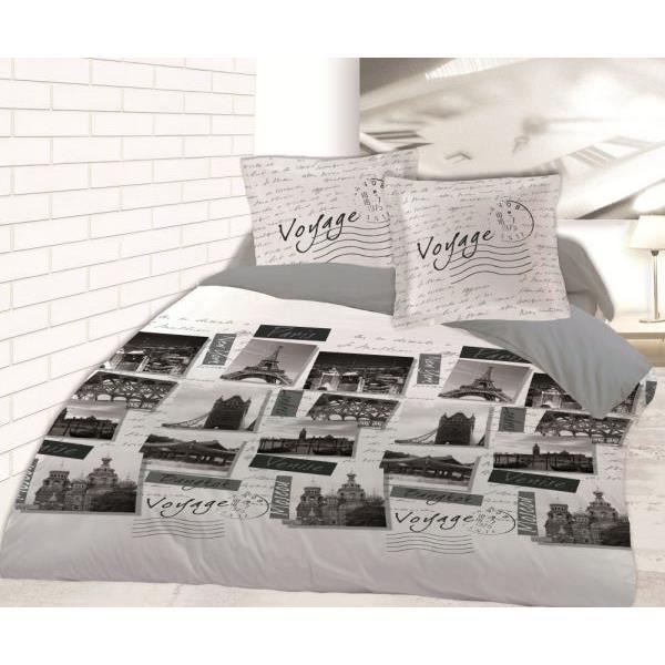 housse de couette 220x240 cm voyage 2 taies d oreiller 65x65 cm dv achat vente parure de. Black Bedroom Furniture Sets. Home Design Ideas