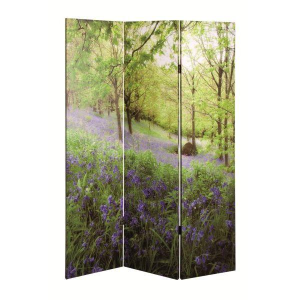 paravent 3 panneaux toile imprim e nature achat vente paravent bois massif cdiscount. Black Bedroom Furniture Sets. Home Design Ideas